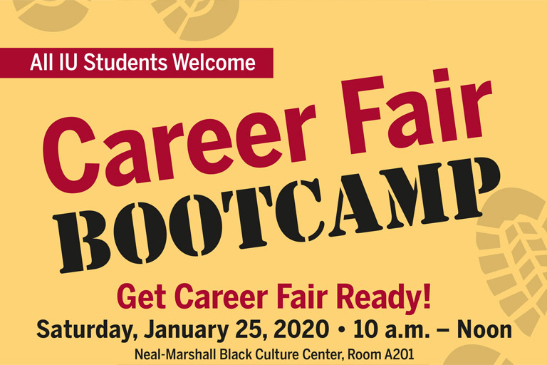 Yellow flyer with bootprints on it with the text Career Fair Bootcamp.