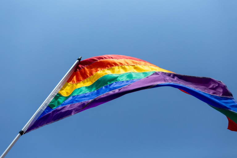 Pride Flag, blue sky