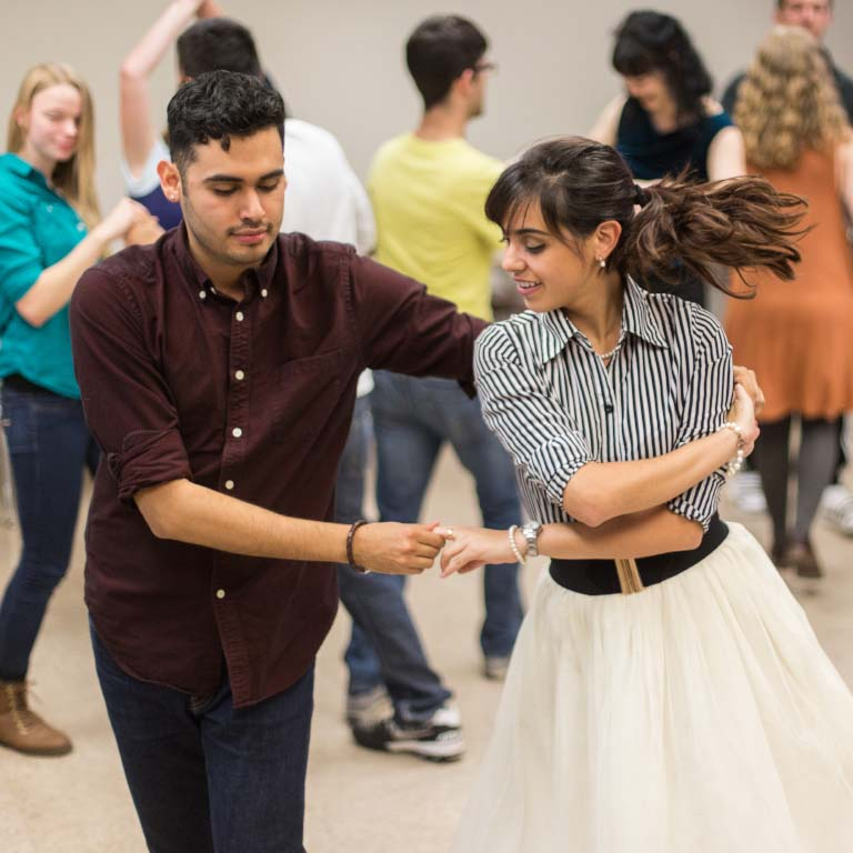 Gabriel Escobedo dances at an event held by the La Casa Latino Cultural Center.