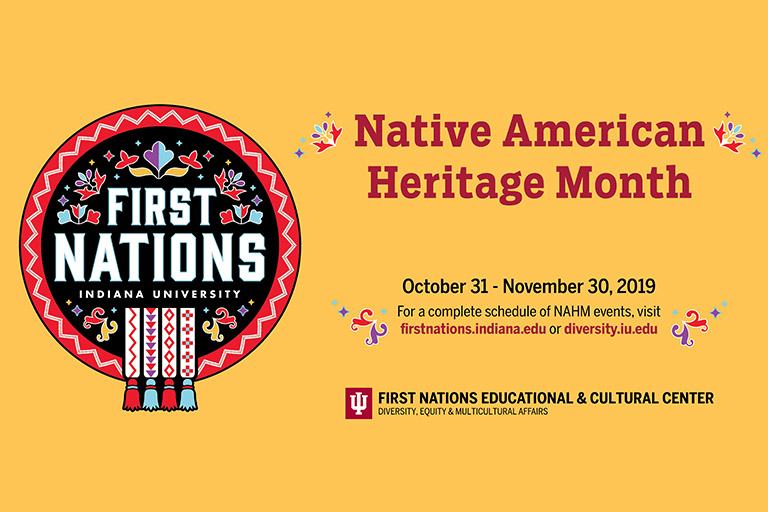 2019 Native American Heritage Month text overlay a wheat yellow background next to the FNECC logo.