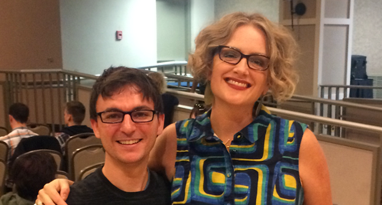 Professor and author Jane Ward stands with IU Ph.D. student Jacob Boss.