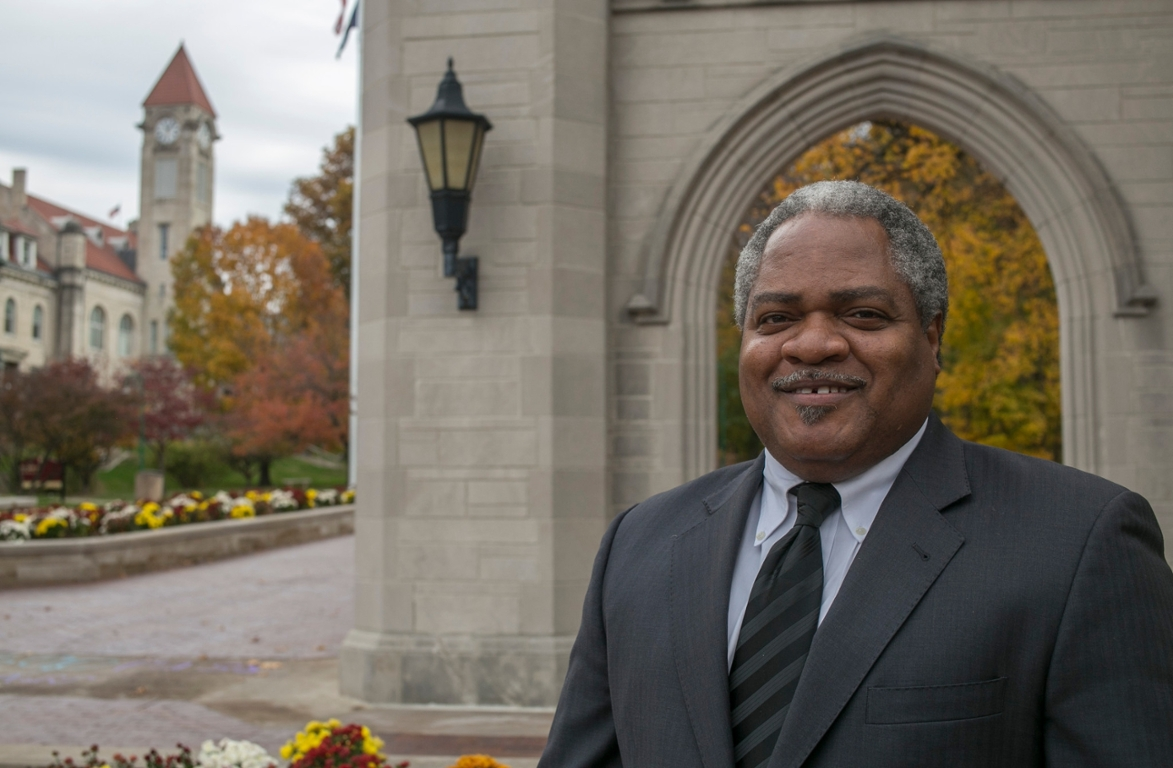 Martin McCrory stands in front of the IU Sample Gates.